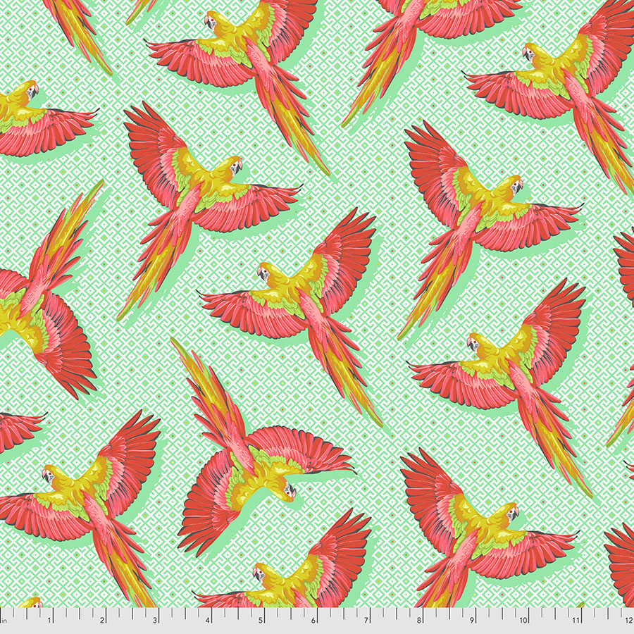 Manufacturer: FreeSpirit Fabrics Designer: Tula Pink Collection: Daydreamer Print Name: Macaw Ya Later in Mango Material: 100% Cotton  Weight: Quilting  SKU: PWTP170.MANGO Width: 44 inches