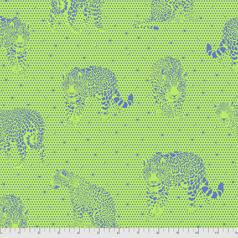 Manufacturer: FreeSpirit Fabrics Designer: Tula Pink Collection: Daydreamer Print Name: Lil Jaguars in Kiwi Material: 100% Cotton  Weight: Quilting  SKU: PWTP174.KIWI Width: 44 inches