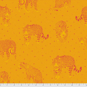 Manufacturer: FreeSpirit Fabrics Designer: Tula Pink Collection: Daydreamer Print Name: Lil Jaguars in Papaya Material: 100% Cotton  Weight: Quilting  SKU: PWTP174.PAPAYA Width: 44 inches