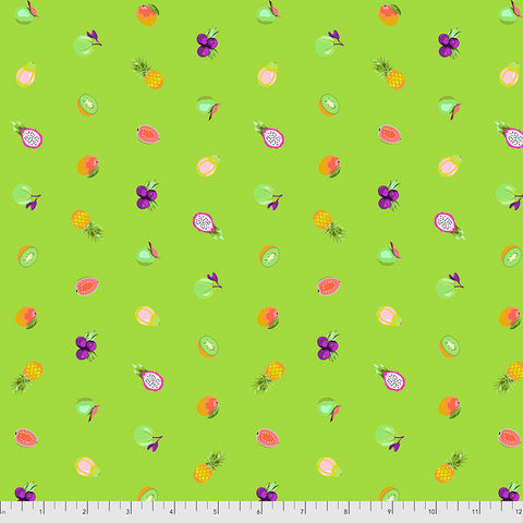 Manufacturer: FreeSpirit Fabrics Designer: Tula Pink Collection: Daydreamer Print Name: Fruit Snacks in Kiwi Material: 100% Cotton  Weight: Quilting  SKU: PWTP175.KIWI Width: 44 inches