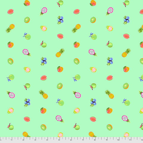 Manufacturer: FreeSpirit Fabrics Designer: Tula Pink Collection: Daydreamer Print Name: Fruit Snacks in Mojito Material: 100% Cotton  Weight: Quilting  SKU: PWTP175.MOJITO Width: 44 inches