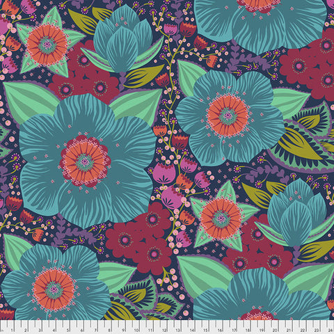 Manufacturer: Freespirit Collection: Hindsight Designer: Anna Maria Horner Print Name: Honorable Mention WIDEBACK Material: 100% Cotton Sateen SKU:  QBAH002.TURQUOISE Width: 108 inches
