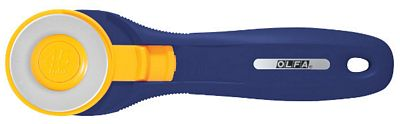 Splash Navy Rotary Cutter - Quick Blade Change.  Designed for both right and left handed use.  Cuts multiple layers of fabric at once.  The blade is made of high quality tungsten carbide tool steel for unparalleled sharpness and superior edge retention.  Blade cover for additional safety.  Lifetime Guarantee.