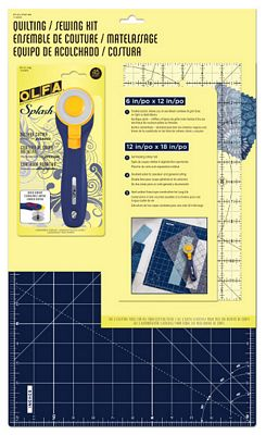 Quilting/Sewing Kit includes 45mm Navy Splash Cutter, 6x12 Ruler and 12x18 Navy Self-Healing Rotary Mat. Navy Olfa Canada.