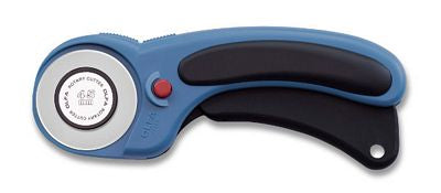 Features a tungsten steel 45mm rotary blade and comes in a new Pacific Blue Color.  Ergonomic curved handle.  Squeeze trigger handle exposes blade and self-retracts for safety.  Dual-action safety lock allows for blade to be locked while in use or locked inside the handle when not in.