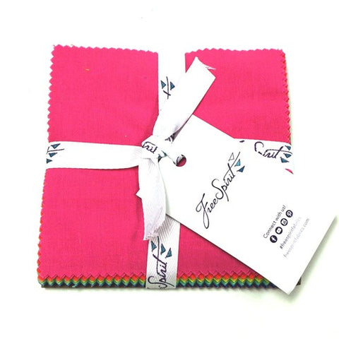 "This Factory Cut Charm Pack contains 42 - 5"" x 5"" quilting cotton prints from Designer Essential Solids by Tula Pink for Freespirit Fabrics  Manufacturer: FreeSpirit Fabrics Designer: Tula Pink Collection: Designer Essential Solids Material: 100% Cotton  SKU: FB6CPTP.SOLID Weight: Quilting"