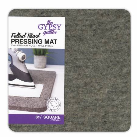 "Press any pieced or embroidered block with ease. The density of this high-quality 100% felted wool mat absorbs seams and stitches, effectively pressing both sides at once. Block knitted projects as well by pinning them directly to the mat. An added bonus? The texture of the wool stops fabrics from shifting so there is no distortion when pressing.  Measures 8""x8""."