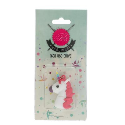 Introducing the new Tula Pink Hardware UNICORN 16gig USB stick for all your adorable flash drive fantasies! These USB sticks are perfect to store your Tula Pink machine embroidery files on your BERNINA or to be used as a general use portable usb stick that's cuter than the basic ones!