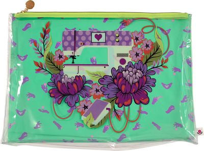 "This Large Project Bag has a full-color printed back panel of Tula Pink's Pedal to the Metal design from her HOMEMADE Collection. The front panel is clear and zipper pull is engraved metal. Bag measures 18"" x 13"" with a 2"" gusset."