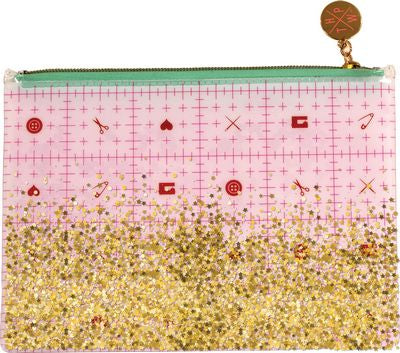"The Small Project bag has a full-color printed back panel of Tula Pink's Cut Once design from her HOMEMADE Collection. The clear front panel contains floating glitter. The bag measures 8-1/2"" x 6""."