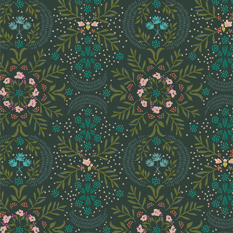 Manufacturer: Art Gallery Fabrics Collection: Velvet Designer: Amy Sinibaldi Print Name:  Firefly Slumber Material: 100% Cotton  Weight: Quilting  SKU: VLV-59650 Width: 44 inches