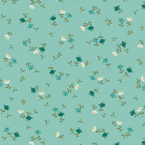 Manufacturer: Art Gallery Fabrics Collection: Velvet Designer: Amy Sinibaldi Print Name:  Olivia Celeste Material: 100% Cotton  Weight: Quilting  SKU: VLV-59656 Width: 44 inches
