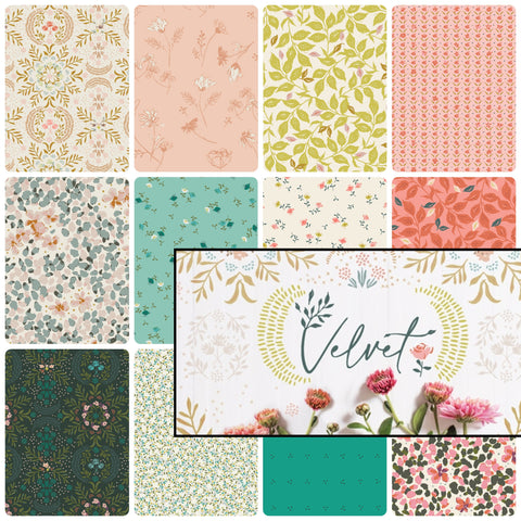 This FAT QUARTER BUNDLE contains 12 quilting cotton prints from Velvet by Amy Sinibaldi for Art Gallery Fabrics.  Manufacturer: Art Gallery Fabrics Designer: Amy Sinibaldi Collection: Velvet Material: 100% Cotton  Weight: Quilting