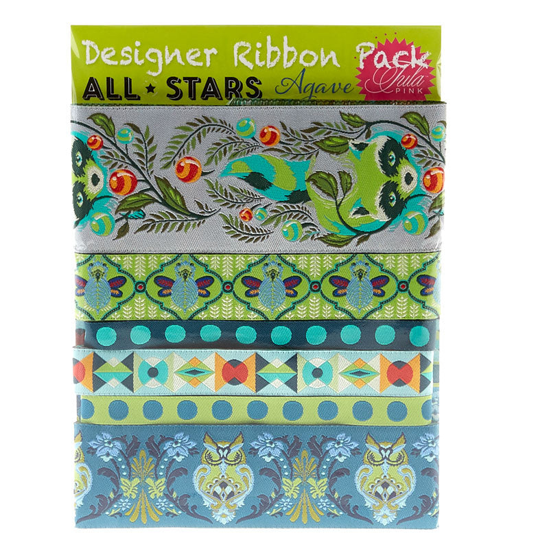 This pack of gorgeous woven ribbons features a selection from Tula Pink's ALL STARS, her collection of the best of the best designs; raccoons, owls and geometrics coordinate with her super-popular cotton quilting fabric produced by Free Spirit Fabrics. 1yd of 1-1/2in, 3yd of 7/8in, 2yd of 5/8in.  6 yards total.