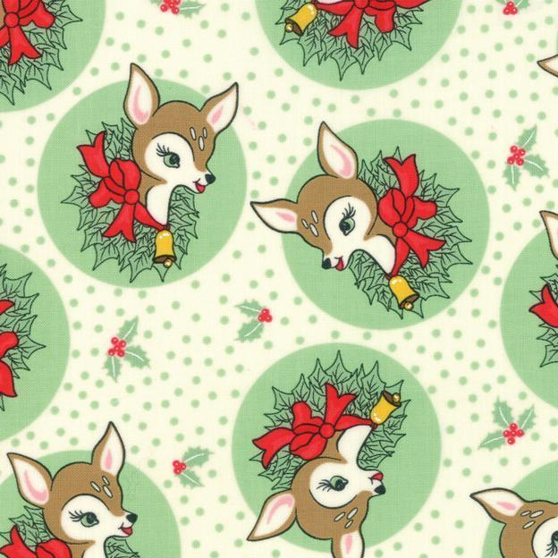 Manufacturer: Moda Fabrics Designer: Urban Chiks Collection: Deer Christmas Print Name: Polka Dot Deer in Spearmint Material: 100% Cotton  Weight: Quilting  SKU: 31161-23 Width: 44 inches