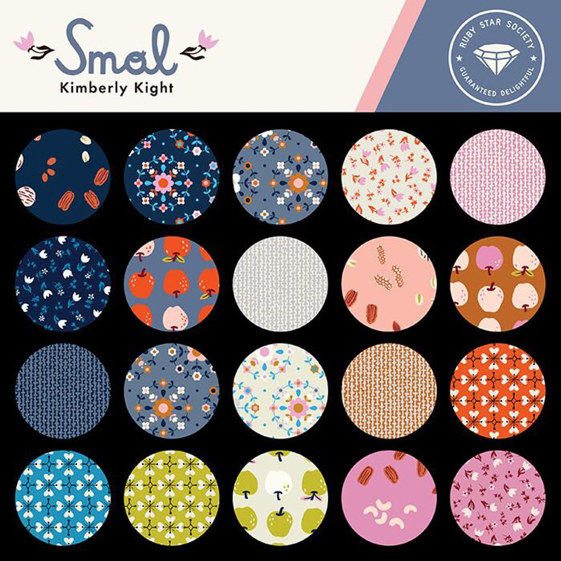 This FAT QUARTER BUNDLE contains 19 quilting cotton prints from Smol by Kimberly Kight for Ruby Star Society.  Manufacturer: Ruby Star Society Designer: Kimberly Kight Collection: Smol Material: 100% Cotton  Weight: Quilting