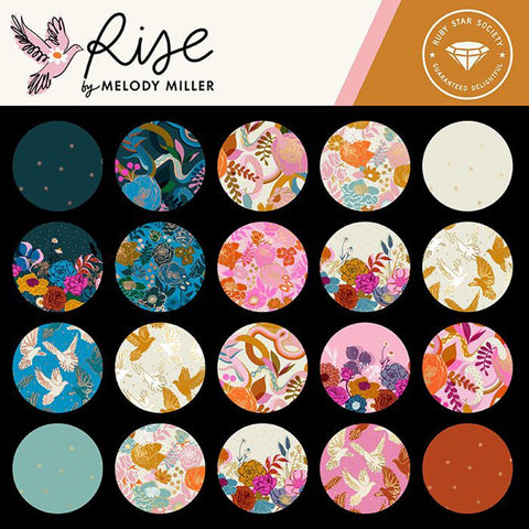 This FAT QUARTER BUNDLE contains 14 quilting cotton prints from Rise by Melody Miller for Ruby Star Society.  Manufacturer: Ruby Star Society Designer: Melody Miller Collection: Rise Material: 100% Cotton  Weight: Quilting