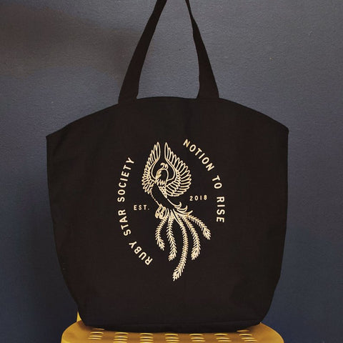 "Shine with Ruby Star Society with this 100% cotton canvas tote bag. At 17"" x 20"", it's perfect for taking fabric and tools to your next quilt retreat and more!  Ruby Star Society Canada"