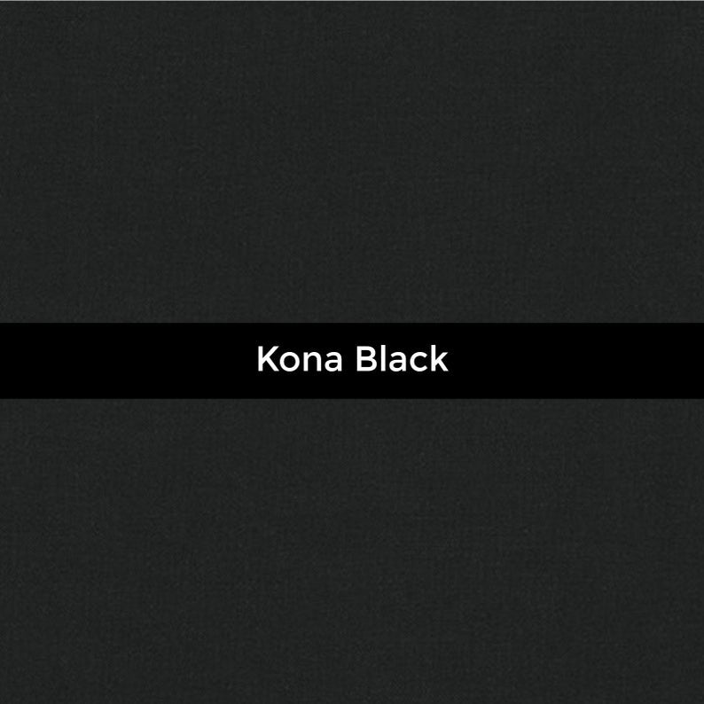 Manufacturer: Robert Kaufman Designer: Robert Kaufman Fabrics Collection: Kona Cotton Solids Print Name: Black Material: 100% Cotton  Weight: Quilting  SKU: K001-1019 Width: 44 inches