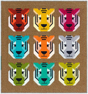 "Antonia Tiger Quilt Kit - Featuring Library by Elizabeth Hartman  It's the eye of the tiger! Quilt kit includes the Antonia Tiger Quilt Pattern by Elizabeth Hartman and Library fabric for the 52""x55"""" quilt top and binding.   Manufacturer: Robert Kaufman  Designer: Elizabeth Hartman Collection: Library Material: 100% Cotton  SKU: Q060151 Weight: Quilting"