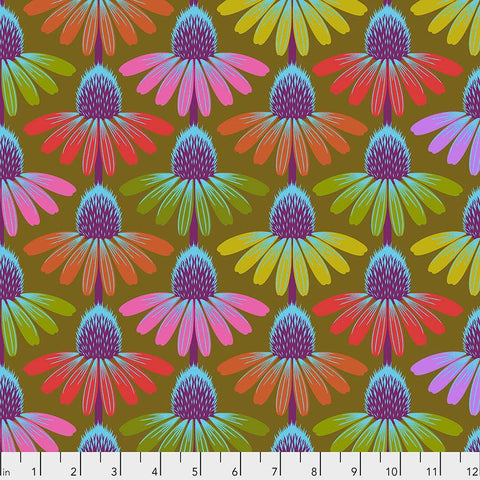 Manufacturer: FreeSpirit Fabrics Designer: Anna Maria Horner Collection: Hindsight Print Name: Echinacea Glow in Autumn Material: 100% Cotton  Weight: Quilting  SKU: PWAH149.AUTUMN Width: 44 inches