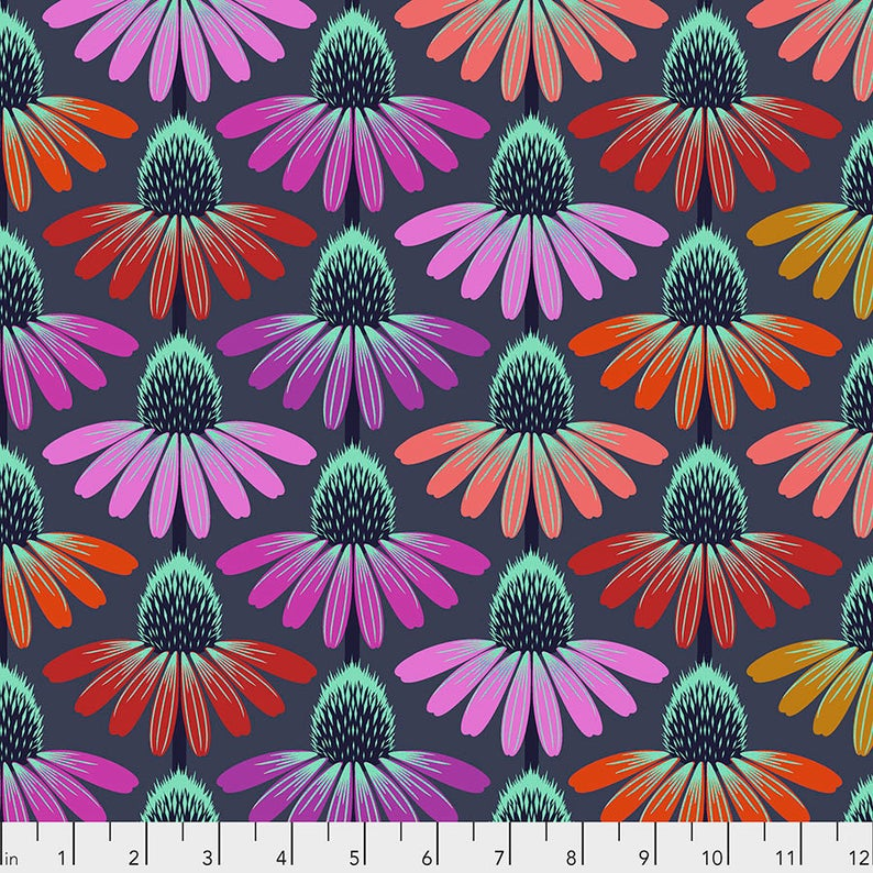 Manufacturer: FreeSpirit Fabrics Designer: Anna Maria Horner Collection: Hindsight Print Name: Echinacea Glow in Glow Material: 100% Cotton  Weight: Quilting  SKU: PWAH149.GLOW Width: 44 inches