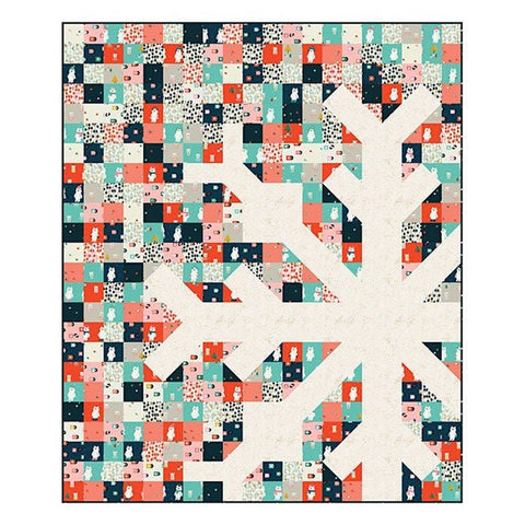 "Flurry Snowflake quilt kit is made from the popular pattern seen on Instagram by Modern Handcraft (Pattern MH 009). You will get all 15 prints from the line in the kit along with the background, binding, and pattern.  Finished size of quilt project is 60"" x 72""."