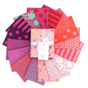 This Factory Cut FAT QUARTER bundle contains 16 quilting cotton prints from Flamingo Colorway of True Colors by Tula Pink for Freespirit Fabrics.  Manufacturer: FreeSpirit Fabrics Designer: Tula Pink Collection: True Colors in Flamingo Colorway Material: 100% Cotton  Weight: Quilting