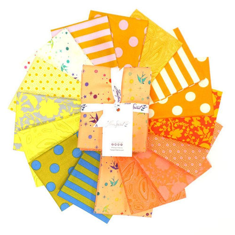 This Factory Cut FAT QUARTER bundle contains 16 quilting cotton prints from the Goldfish Colorway of True Colors by Tula Pink for Freespirit Fabrics.  Manufacturer: FreeSpirit Fabrics Designer: Tula Pink Collection: True Colors in Goldfish Colorway Material: 100% Cotton  Weight: Quilting