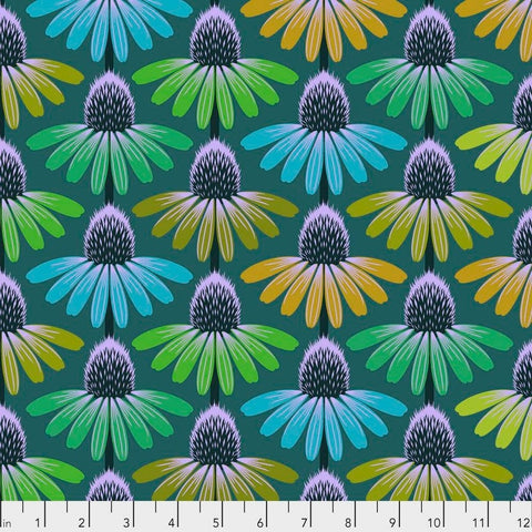 Manufacturer: FreeSpirit Fabrics Designer: Anna Maria Horner Collection: Hindsight Print Name: Echinacea Glow in Algae Material: 100% Cotton  Weight: Quilting  SKU: PWAH149.ALGAE Width: 44 inches