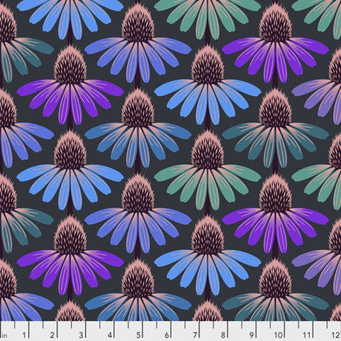 Manufacturer: FreeSpirit Fabrics Designer: Anna Maria Horner Collection: Hindsight Print Name: Echinacea Glow in Amethyst Material: 100% Cotton  Weight: Quilting  SKU: PWAH149.AMETHYST Width: 44 inches
