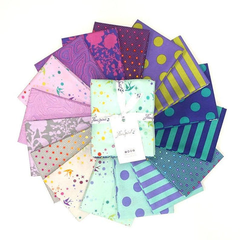 This Factory Cut FAT QUARTER bundle contains 16 quilting cotton prints from the Peacock Colorway of True Colors by Tula Pink for Freespirit Fabrics.  Manufacturer: FreeSpirit Fabrics Designer: Tula Pink Collection: True Colors in Peacock Colorway Material: 100% Cotton  Weight: Quilting