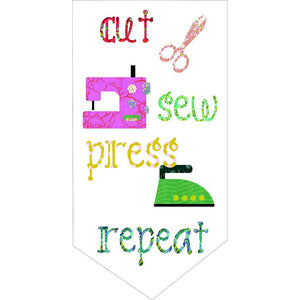 "Perfect as a wall hanging for your sewing room, ""Cut Sew Press Repeat"" is sure to win your heart. Vibrant Tula Pink fabrics will make this a statement piece in your home.  Design by Tied With a Ribbon.  Measures 47"" x 59."""