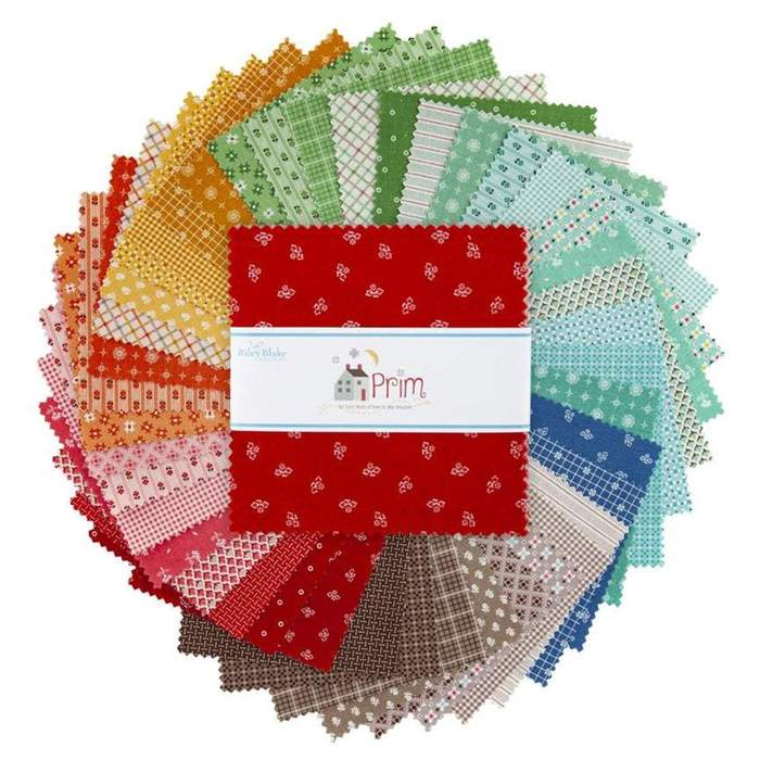 "This Factory Cut LAYER CAKE bundle contains 42 - 10"" x 10""quilting cotton prints from Prim by Lori Holt for Riley Blake Designs.  Manufacturer: Riley Blake Designs Designer: Lori Holt Collection: Prim Material: 100% Cotton  SKU: 10-9690-42 Weight: Quilting"