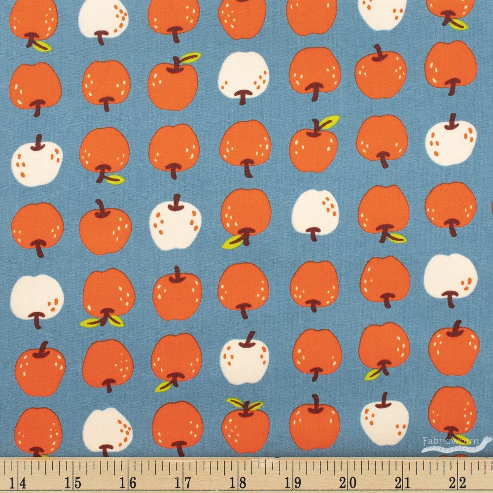 Manufacturer: Ruby Star Society Designer: Kimberly Kight Collection: Smol Print Name: Them Apples in Denim Material: 100% Cotton  Weight: Quilting  SKU: 53016-15 Width: 44 inches