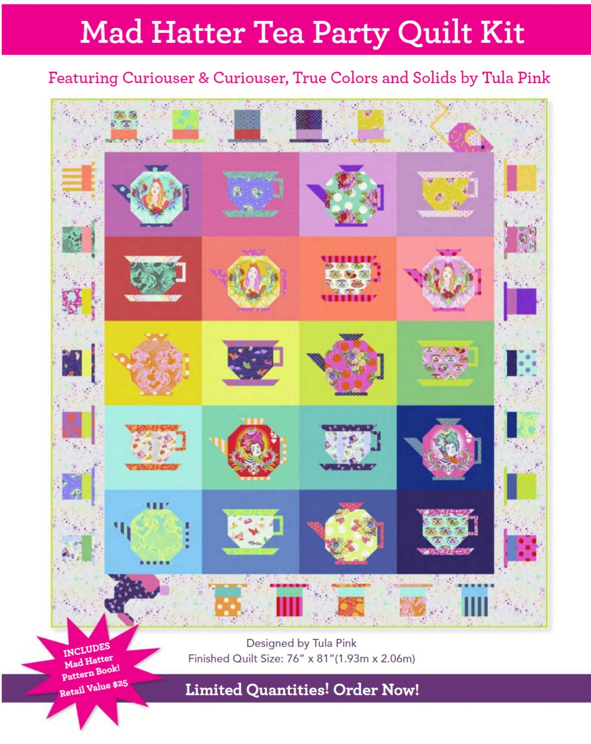 PREORDER || Tula Pink - Curiouser & Curiouser - Mad Hatter Tea Party QUILT KIT - APRIL 2021
