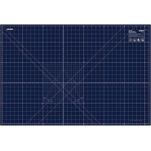 "24"" x 36"" Double Sided, Self-Healing Rotary Cutting Mat in Navy Blue.  1.5mm thick, double-sided mat is navy on one side for general crafting and has white grid lines on other side for detailed cutting.  Self-healing finish reseals surface cuts, providing a continually smooth surface for all cutting projects."