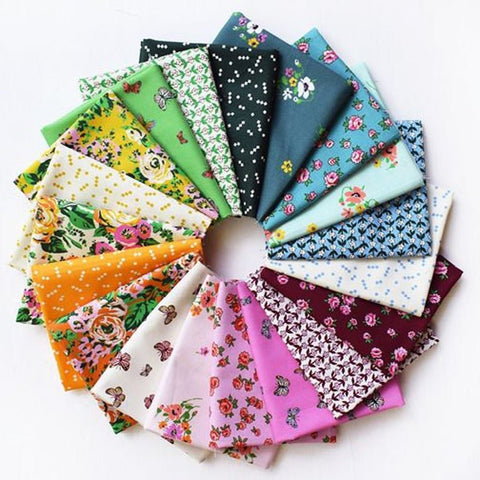 This Factory Cut FAT QUARTER BUNDLE contains 19 quilting cotton prints from Posy by Annabel Wrigley for Windham Fabrics.    Manufacturer: Windham Fabrics Designer: Annabel Wrigley Collection: Posy Material: 100% Cotton  Weight: Quilting