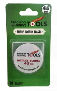 LONG LASTING - Made from high-quality SKS-7 Carbide Tools Steel for blades that stay sharper and last longer! Pre-lubricated to Prevent Rusting and Corroding. FITS ALL CUTTERS - Compatible with all 45mm rotary cutters  SHARP - Sharp blades built to last!  STORAGE CASE INCLUDED - Store your blades in the included FREE snap case.