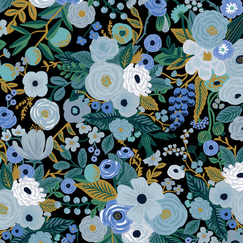 Manufacturer: Cotton and Steel Designer: Rifle Paper Co. Collection: Garden Party Print Name: Garden Party in Blue Material: 100% Cotton  Weight: Quilting  SKU: RP100-BL5 Width: 44 inches