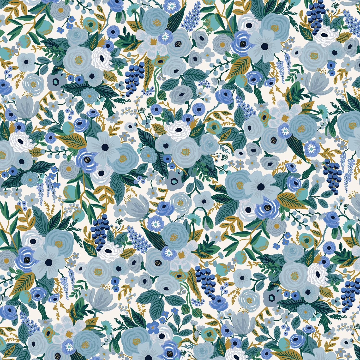 Manufacturer: Cotton and Steel Designer: Rifle Paper Co. Collection: Garden Party Print Name: Petite in Blue Material: 100% Cotton  Weight: Quilting  SKU: RP104-BL5 Width: 44 inches