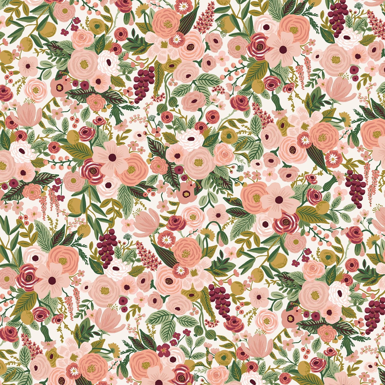 Manufacturer: Cotton and Steel Designer: Rifle Paper Co. Collection: Garden Party Print Name: Petite in Rose Material: 100% Cotton  Weight: Quilting  SKU: RP104-RO6 Width: 44 inches