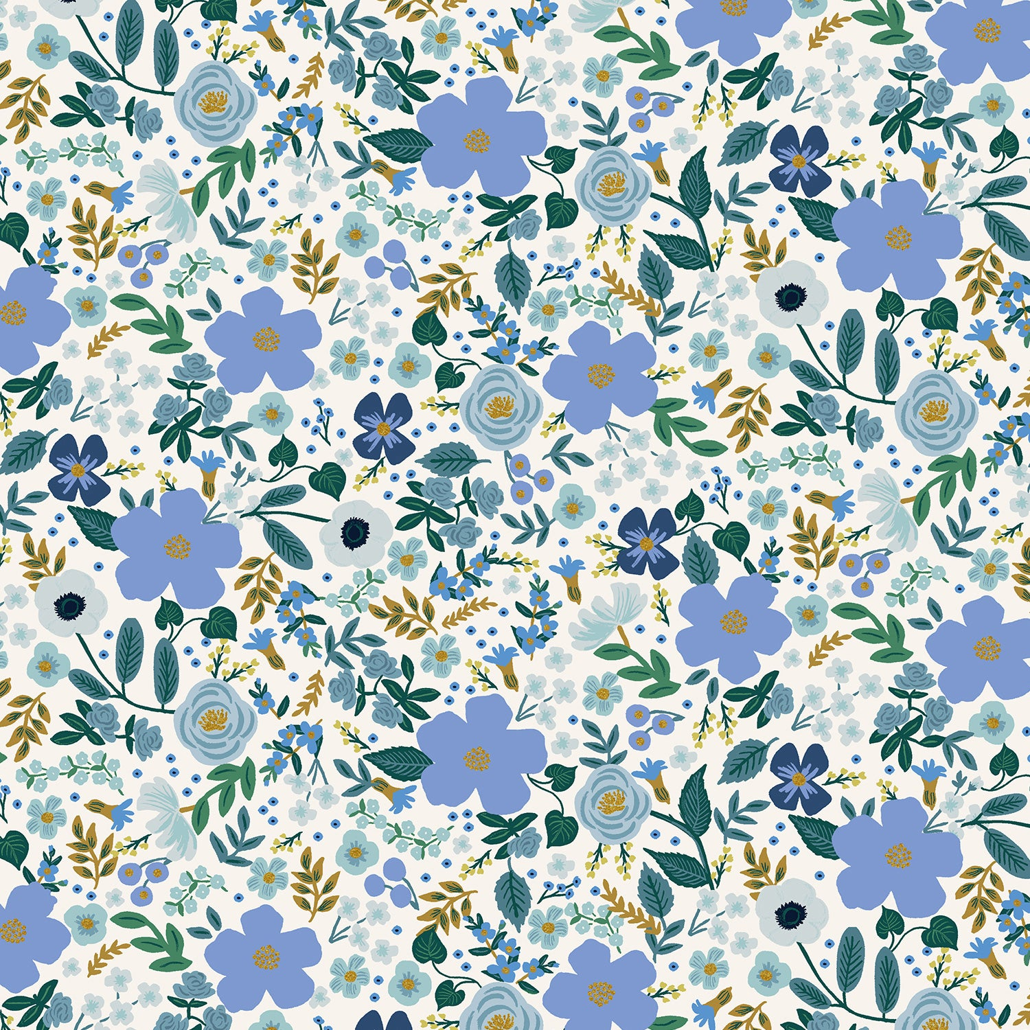 Manufacturer: Cotton and Steel Designer: Rifle Paper Co. Collection: Garden Party Print Name: Wild Rose in Blue Metallic Material: 100% Cotton  Weight: Quilting  SKU: RP303-BL6M Width: 44 inches