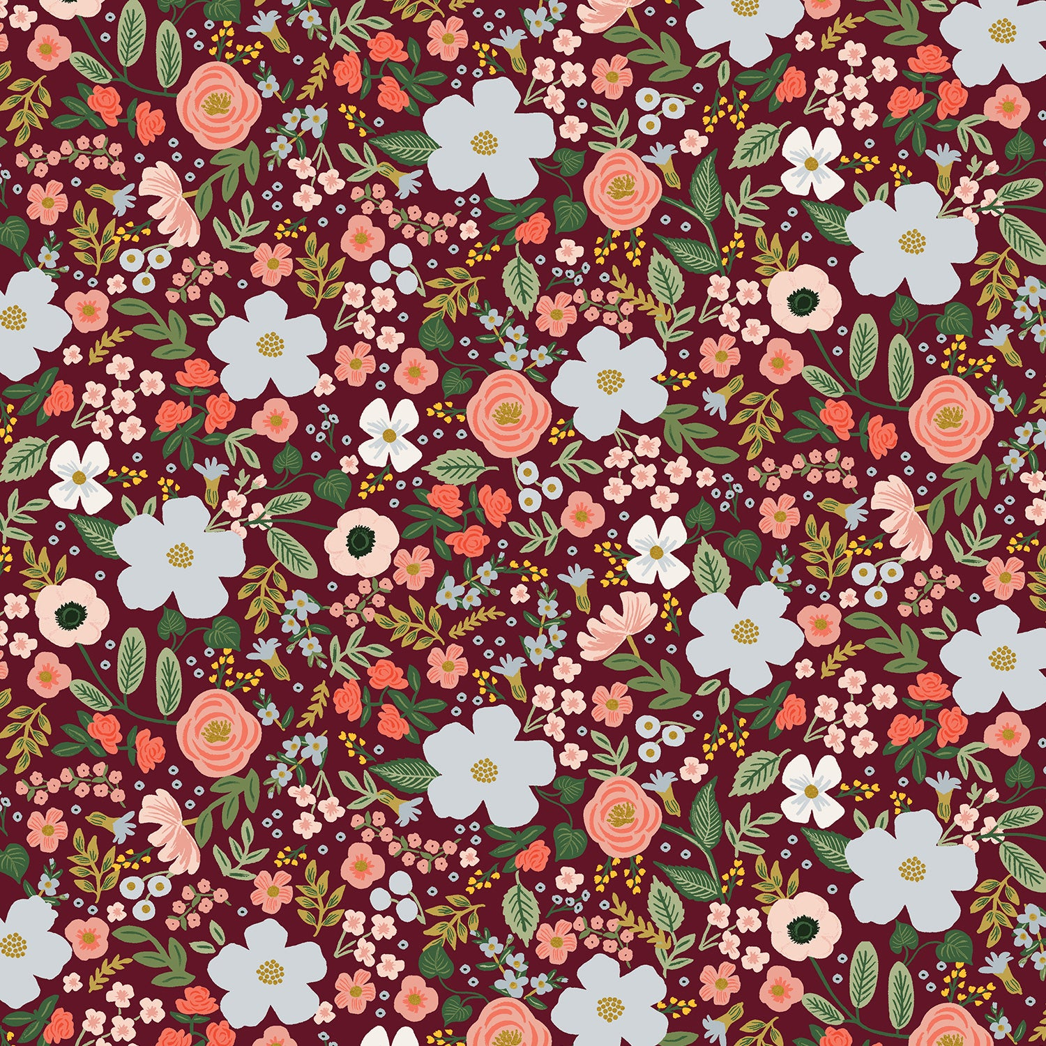 Manufacturer: Cotton and Steel Designer: Rifle Paper Co. Collection: Garden Party Print Name: Wild Rose in Burgundy Metallic Material: 100% Cotton  Weight: Quilting  SKU: RP303-BU5M Width: 44 inches