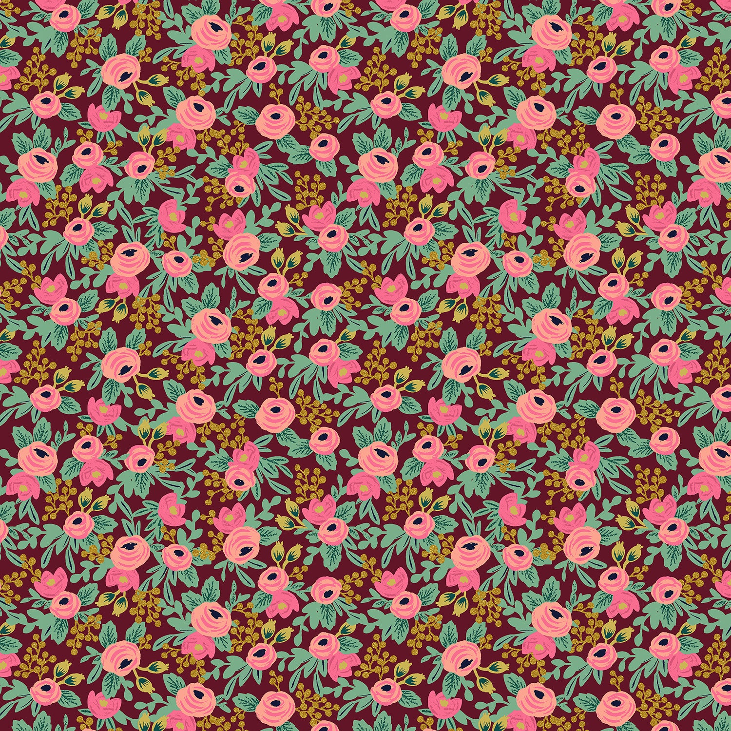 Manufacturer: Cotton and Steel Designer: Rifle Paper Co. Collection: Garden Party Print Name: Rosa in Burgundy Metallic Material: 100% Cotton  Weight: Quilting  SKU: RP305-BU5M Width: 44 inches