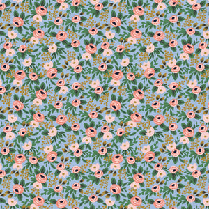Manufacturer: Cotton and Steel Designer: Rifle Paper Co. Collection: Garden Party Print Name: Rosa in Chambray Metallic Material: 100% Cotton  Weight: Quilting  SKU: RP305-CH4M Width: 44 inches