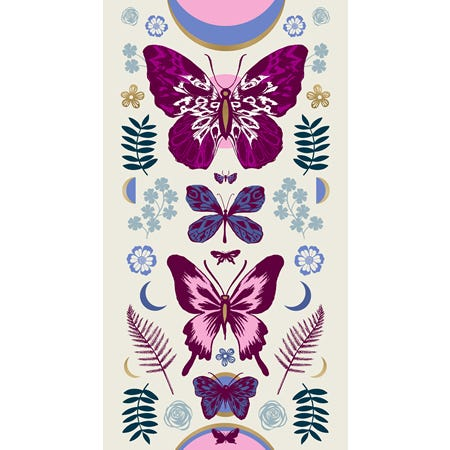"This listing is for one (1) panel.  Panel measures 24"" x 44""  Manufacturer: Ruby Star Society Designer: Sarah Watts Collection: Tigerfly Print Name: Mother Panel in Shell Material: 100% Cotton  Weight: Quilting  SKU: 52011M-12 Width: 44 inches RS2011M.  Tiger Fly Sarah Watts"