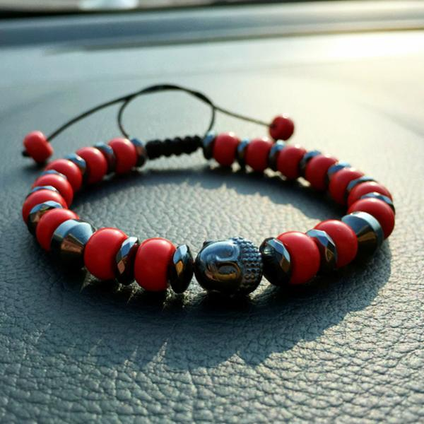 Buddha Beads Bracelet With Red Cinnabar Stone