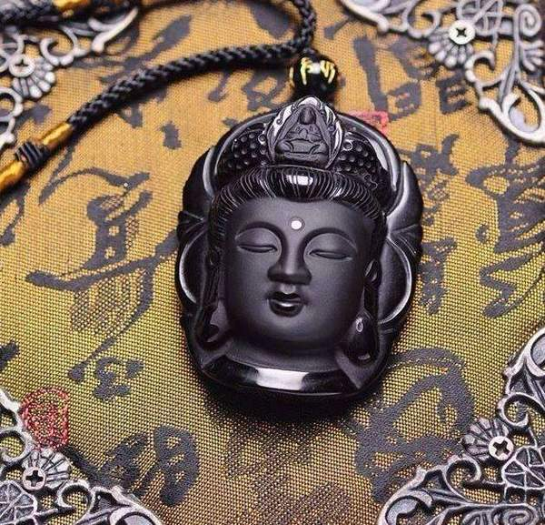 Buddha Necklace - Black Obsidian Stone