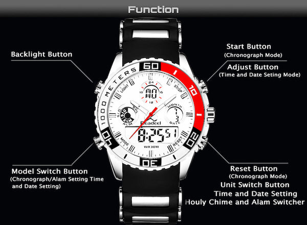 Dual Display Waterproof Wrist Watch